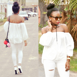 Monthe Keou - Malibu Sunglasses, Topshop White Top, Christian Dior Black Bag, Topshop Necklace, Rick Owens White Pant, Giuseppe Zanotti Shoes, Rollex Watch - French touch