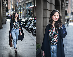 EmerJa Design - Ovs Floral Shirt, Pull & Bear Mom Jeans, Mango Trench - Flower shirt and mom jeans