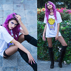 Andrea Chavez - Bittersweet French Fries Tee, Sandia Pink Choker - Mc Donald's addicted