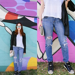 Cadyn Scott - Paige Denim Leather And Suede Jacket, J Crew Distressed Straight Leg Denim, Sam Edelman Navy Suede And Snakeskin High Tops, Madewell White New York Tee, Quay Blue Reflector Cat Eye Glasses - Slouchy Saturday