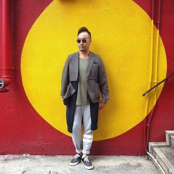 Mannix Lo - Philippe V Sunglasses, R1476 Remade Vintage Blazer, H&M Tee, Uniqlo Long Cardigan, H&M Sweat Pants, Global Works Patchwork Sneakers - Vintage Sports Mix
