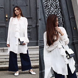Thao Nhi Le - Zara Volant Shirt, Asos White Pumps, Ame Moi Molly Monochrome Bag - Monochrome & Volant