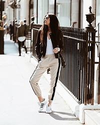 Julia Lundin - Alysi Trousers, Adidas Shoes, Allsaints Jacket, Urban Outfitters Bodysuit - Bodysuits