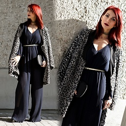 Redhead Illusion by Menia - Bloom Leopard Style Coat, Zara Jumpsuit, Karen Millen Bag - Never Underestimate The Power Of A Jumpsuit!
