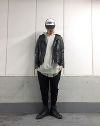 ★masaki★ - Off!, Zara Oversized Ridersjacket, H&M Sweatpants, Nike Air Jordan 1 - Trash style 116