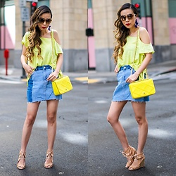 Sasa Zoe - Less Than $70 Top, $60 Skirt, Earrings, Wedges, Sunglasses, Bag - SPRING BRIGHTS