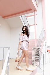 Alexandra Lord - Forever 21 Off The Shoulder Romper, Puma Fenty, Nannacay Picnic Crossbody - VACAY ALL DAY