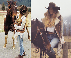 Anna Lengstrand - Urban Outfitters Jeans, Blundstone Shoes, Billabong Cardigan, My Own Muddy Horse - Cowgirl dreams came true.