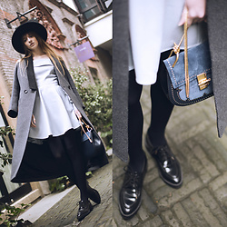 Lolita Sharun - Tbyme Grey Coat With Black Collar, Chloé Drew Big Suede And Leather Cross Body Bag, Zara Black Drape Hat With Golden Chain, Tbyme Light Blue Dress With Open Shoulders - French feeling! SFW Day 3
