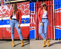 Agata Nika - Zara Red Leather Jacket, Levi's® Levi's 501, River Island Ankle Boots, Zara White Top, Zara Sunglasses - Bandana