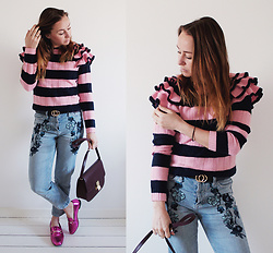 Magna G. - Striped Ruffle Sweater, Embroidered Jeans, Pink Metallic Loafers - Striped ruffle sweater look 1