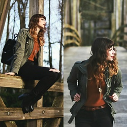Mackenzie S - Forever 21 Military Jacket, Ms. Little's Bags Little Black Backpack, Mo:Vint Tella Raglan Sweater, Gap Diy Distressed Black Skinny Jeans, Bullboxer Heeled Chelsea Boots, B Moon Designs Gold Fringe And Crystal Necklace - Little Black Backpack