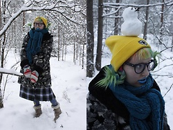 Lindwormmm - Thrifted Furry Coat, Runnig Koala Beanie, Pastel Rainbow Mittens, Thrifted Tartan Skirt, Dark Blue Round Glasses, Blue Knitted Scarf - In Memory of Winter 17