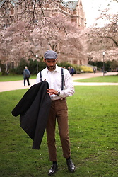 Hector Diaz - Club Monaco Dark Charcoal Jacket (Similar), Mr. Porter White Vintage Shirt (Similar), All Saints Brown Chinos (Similar), J. Crew Suspenders (Similar), H&M Beret Hat, Calvin Klein Dress Shoes - Vintage Blossoms