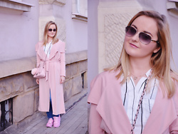 Sispolitan Lach - Zaful Pink Coat, Chanel Sunglasses, Apart Necklace, Zaful Shirt, Rosegal Sneakers, Rosegal Small Bag, Zara Jeans - Pastel Pink Look
