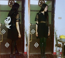 Marié Josephina Huang - Zalora Mesh Black Dress, Thrifted Two Tone Green And Black Tights, Leisureclan Dollish Mary Janes, Thrifted Panda Bag - Gloomy Afternoons ((170413))
