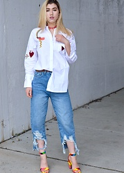 Dani Mikaela McGowan - Miss Iny Embroidered Oxford Button Up, Miss Iny Distressed Hem Jeans, Rainbow Block Heels, Forever 21 Pink Heart Choker - Rainbow Heart
