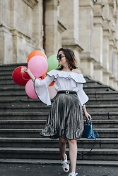 Andreea Birsan - Contrast Frill Off Shoulder Top, Silver Metallic Pleated Midi Skirt, Leather Belt, Saffiano Lux Cobalt Bag, Ace Embroidered White Sneakers, Square Sunglasses - Celebrating