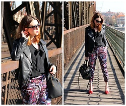 Jana Dishani - Mango Sunglasses, Mango Leather Jacket, Margifashion Trousers, Calvin Klein Bag - On the bridge