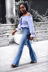 Abimbola Ogunsanya - H&M Flare Jeans, Quiz Off Shoulder Top, New Look Purse, New Look Shoes - Pretty in flare