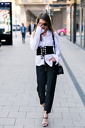 Stephanie Van Klev - Hugo Boss Shirt, Zara Corset Belt, Zara Two Tone Jeans, Strenesse Heels, Chanel Bag - Corset Belt & Two-Tone Jeans