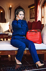 Nilu Yuleena Thapa - Giorgio Armani Navy Blouse, Giorgio Armani Navy Pleated Bottom, Giorgio Armani Tote Bag - PowerHouse