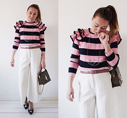 Magna G. - Striped Ruffle Sleeve Sweater - Striped ruffle sweater look 2