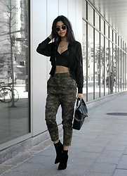 Florencia R - Forever 21 Mesh Bomber, Urban Outfitters Camo Pants, Public Desire Ankle Boots, Boohoo Bralet - CAMO