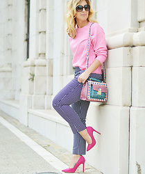 Mara M - H&M Sweater, Sfera Gingham Pants, Marypaz Heels, Jo&Mr.Joe Bag - Gingham pants
