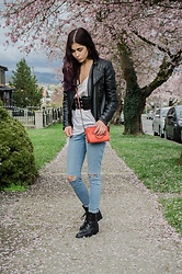 Maria P - Aliexpress Leather Jacket, Corset Belt, H&M White V Neck Tee, Coach Orange Crossbody Bag, Topshop Blue Ripped Jeans, Joie Combat Boots - Little Orange Bag