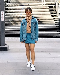 Nloua - Adidas Superstars Sneakers, Asos Ripped Denim Jacket, Denim Skirt, Missguided Nude Funnel Neck Strap Cuff Sweatshirt, Quay All My Love Tinted Lenses - Denim on denim on denim