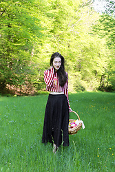 Veronika Lipar - House Of Holland Pink And Red Striped Crop Top, Dkny Black Midi Skirt, Puma Pale Pink Sneakers - Striped, Cropped and Sweet Easter Egg Hunt