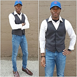 Thomas G - Alfani Vest, Kenneth Cole Dress Shoes, Levi's High Rise Demi Curve, Aeropostale Casual Shirt, Cross Bracelet, Forty Seven Chicago Cubs - Cap + Vest + Jeans