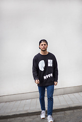 Kevin Elezaj - Reebok Sneakers, Loom Jeans, Cheap Monday Sweater, Obey Cap - Moon
