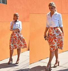 Jaclynn Brennan - H&M Printed Skirt, Banana Republic Denim Blouse, Michael Kors Nude Platform Pumps - Sunday Best
