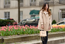 Ophelia Tang - Burberry Trench Coat, Rebecca Minkoff Mini Mab, Zara Black Leggings/Pants, Uniqlo White Chiffon Top - Spring Neutrals