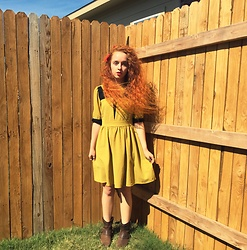 Emily Elizabeth - Modcloth Green Dress, Target Boots, Forever 21 Hair Bow - Peter Pan Aesthetic