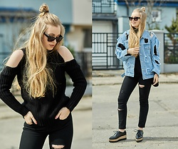 Marta Caban - Zerouv Glasses, Zaful Turtleneck, Zara Jeans - HOLE DENIM JACKET
