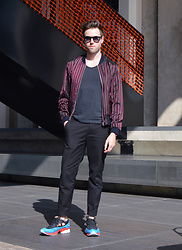 Jordi - Dries Van Noten Striped Bomber Jacket, Cos T Shirt, H&M Trend Trousers, Raf Simons X Adidas Ozweego 2 - Ozweego