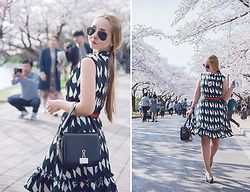 Olga Choi - Metisu Print Dress, Styled Moscow Clip Bag, Styled Moscow Stripe Belt, Ray Ban Sunglasses - Prints