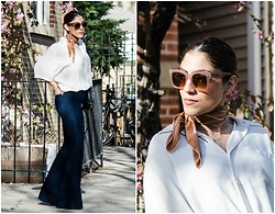Christina N -  - Oversized Blouse + Flare Jeans