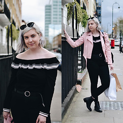 Elizabeth Claire - H&M Black Off The Shoulder Top, Zara Pastel Pink Faux Leather Jacket, Asos Circle Clasp Belt, Asos Black Skinny Jeans, Asos Black Chelsea Boots - Off-the-Shoulder