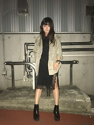 B B - Snidel Military Jacket, Zara Lace Slit Skirt, Zara Enamel Boots, Style Deli Half Sleeve Knit, Style Deli Gold Bangle, Withings Go - Want to go movie
