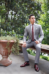 Christopher Michael - Donald J Pliner Burgundy Monkstrap Shoes, Chookhare & Sons Dove Gray Custom Made Suit, Timex Aviator Chronograph Watch - Unbearably Stylish X Donald J. Pliner