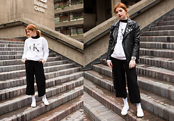 Hannah Louise - Calvin Klein Sweatshirt, Missguided Oversized Faux Leather, Vans White Slip Ons - Calvin Klein Sweatshirt