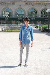 Julien GIRARD - Jules Patch Shirt, H&M Tee With Bold, Bershka Grey Jeans, Zara Slip On - Patch&Jeans