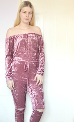 Lucy Mitchell - Rosegal Pink Velvet Off Shoulder Jumpsuit - Velvet Dreams