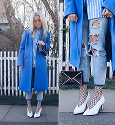 Joicy Muniz - Urban Outfitters Glasses, Tommy Hilfiger Coat, Tommy Hilfiger Shirt, Karl Lagerfeld Bag, Style Moi Jeans, Sneaky Fox Fishnets, Urban Outfitters Shoes - Fishnets for spring
