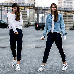 Jacky -  - White Sweater, Blue Pants, Denim Jacket
