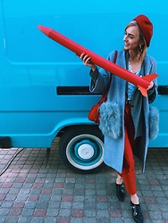 Agnija Grigule - Minusey Coat, Zara Red Trousers, Ted Baker Shoes - ROCKET GIRL
